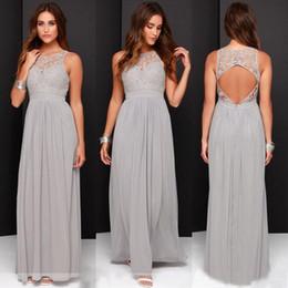 Wholesale Elegant Grey Wedding Dress - Elegant Light Grey Long Lace Chiffon Bridesmaid Dresses Open Back 2017 Wedding Party Dresses vestido de festa de casamento