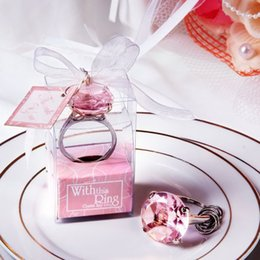 Wholesale Wedding Keychain Favors - Cheap Home Party Favors Wedding Gifts Diamond Ring Shape Keychain Key Accessories Wedding Favors And Gifts For Guest 50Pcs  Lot