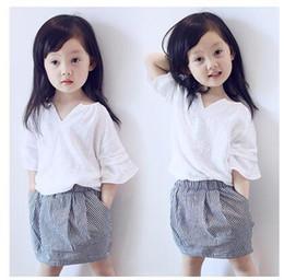 Wholesale 4t Pencil Skirts - Children set 2016 new summer girls Suits White V collar T popling skirt Pencil Skirt Sets