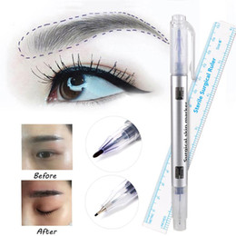 Wholesale Ruler Tool - 2pcs Set Microblading Surgical Skin Marker Eyebrow Marker Pen With Measure Measuring Ruler Tattoo Skin Scribe Tool Disposable