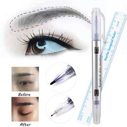 Chirurgische stifte online-2 teile / satz Microblading Chirurgische Haut Marker Augenbraue Marker Stift Mit Maß Messlineal Tattoo Skin Scribe Tool Einweg