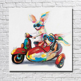 Wholesale Chinese Room Decor - Chinese Oil Painting Funny Animal Pictures Modern Canvas Wall Art Home Decor Living Room Wall Pictures 1 Peices No framed