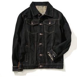 Wholesale Men S Jacket 7xl - Wholesale- 2016 Fashion Thick Warm Fleece Lined Denim Jacket Men Black Oversized Winter Jean Jackets Plus Size 5XL 6XL 7XL
