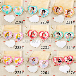 Wholesale Bow Resin Flat Back - 90pcs 1.2inch 9 styles cartoon Cute Planar Resin for Hair Bows Cute Flat Back Resins DIY Holiday & Phone Decorations
