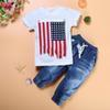 Wholesale Wear Tutu Jeans - Catamite National Flag Short Sleeve T Pity Jeans Three-piece .Summer Wear New Pattern Foreign Trade Child Suit