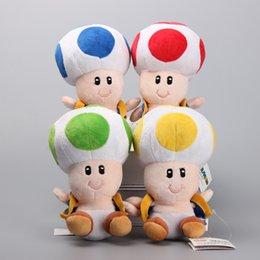 """Wholesale Super Mario Toad Figure - 4pcs Lot Toad 6.5"""" 17cm Super Mario Bros Plush Dolls Stuffed Animals For Baby Gifts"""