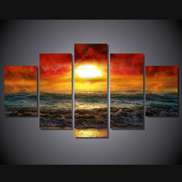Wholesale Original Oil Painting Framed - 5 Pcs Set No Framed HD Printed amazing sunset artistic Painting on canvas room decoration print poster picture canvas original paintings