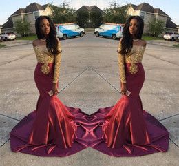 Wholesale Red Crystal Apple Charm - Charming Mermaid Prom Dresses Long Off Shoulder Gold And Burgundy Evening Gowns For Black Girls Long Sleeve Sweep Train Formal Dresses