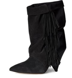 Wholesale Embellished Boots - Best Selling 2017 Fashion Side Fringe Embellished Woman Ankle Boots Pointed Toe Suede Leather Woman Short Boots Slip-on Shoes
