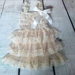 Wholesale Summer Clothing For Baby Girls - Baby Knee-Length Dresses for Summer Flower Girls Dresses Lace Baby Dresses Rustic Baby Girls Clothing High Quality