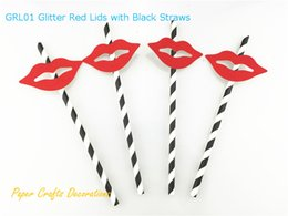 Wholesale Baby Shower Labels - Wholesale- (Straws Included) Set of 25pcs Glitter Red Lids Labels Black Paper Straws Baby Shower Wedding Birthday Party Decorations