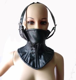 Wholesale Leather Bondage Corsets - Adult Soft Leather Bondage SM Slave Boned Head Harness Neck Corset Collar Womens Fetish Restraint Posture Collar Sex Products