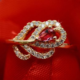 Wholesale Red Tourmaline Rose Gold Ring - Engagement Hot sale 18k rose gold plated rose red precious natural tourmaline CZ rings for women