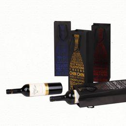 Wholesale Bags Cardboard - Black Cardboard Red Wine Bags With Hand Rope Package Bag Durable Both Sided Gilding Printing Handbags 1 65zz B R