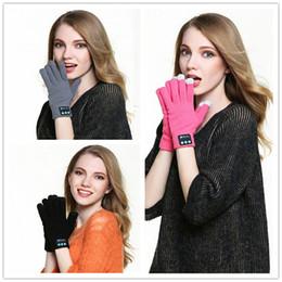 2019 handschuhtelefon Touch Bluetooth Handschuhe Winter Touch Handschuhe stricken Handschuhe Fäustlinge Männer für Handy Wireless Smart Headset Lautsprecher 100pairs B0836 günstig handschuhtelefon