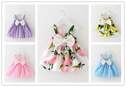 Wholesale Dress Elegant Children - 2016 New Hot Korean Printing Children Dress 5 Colors Crew Neck Casual Elegant Dresses For Girl Beautifull Fashion Mini Bow Girl Dress