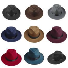 Wholesale Vintage Trilby Hat - Wholesale-Vintage Men Women Hard Wool Felt Hat Wide Brim Fedora Trilby Panama Hat Gangster Cap