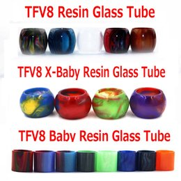 Wholesale Glasses Resin - Colorful Resin Glass Replacement Epoxy Expansion Tube Caps Drip Tips Tubes For TFV8 Baby X-Baby TFV12 Prince Tank Atomizers In Stock