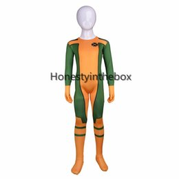 Wholesale Body Suit Costume Kids - Can Be Custom Green and Yellow Lycra Spandex Full body Zentai Suit Kids Superhero Cosplay Bodysuit For Halloween