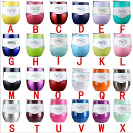 Wholesale Wine Bottle Oz - Swig Wine Cup 9 oz 304 Stainless Steel Water Bottles Mugs 9oz Vacuum Sealed Insulation Powder Coated Beer Glass Egg Cups DHL Free 3002018