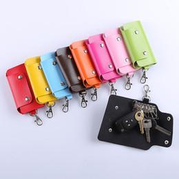 Wholesale Cheap Candy Holders - Wholesale-2016 Fashion Mini Key Wallet Purse Cheap Candy Colors Women Men's Pu Leather Pocket Keys Organizer Holder Pouch Case Bag for Car