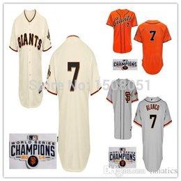 Wholesale Giant Blanco Jersey - 2017 New Free Shipping 2014 Men's Baseball Jersey San Francisco Giants #7 Gregor Blanco #18 Matt Cain W Champion OR World serials Patch