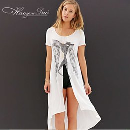 Wholesale Fashion Illustration Prints - Wholesale- 2015 summer new brief special Abstract art strokes scarecrow Illustration print short sleeve dovetail long tee T-shirt for women