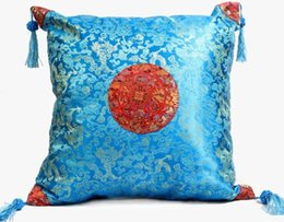 Wholesale Damask Cushion Covers - Chinese Dragon Damask Pillow Cushion Cover Personalized Tassel Sun Patterns Pillow Case 17 inch 2pcs pack