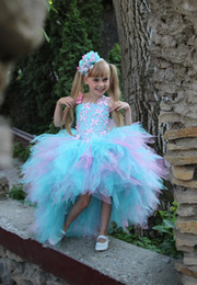 Wholesale Cheap Christmas Beads - Pink Blue 11 Year Old Girl Dresses Lilac Party Tutu Dress Cheap Flower Girl Dresses