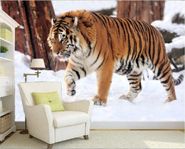 Wholesale Tiger Bedroom Wall - 3d wallpaper custom photo non-woven mural Walk across the snow tiger 3d wall room murals wallpaper picture TV decoration painting