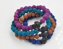 Wholesale Custom Gold Bracelets - Wholesale Custom Jewelry 2017 Popular Vogue Lucky tortoise charm Lava Natural Stone Beaded Mens Gemstone Beads Bracelets For Men