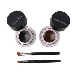 Canada 2 en 1 café + noir gel eyeliner maquillage livraison gratuite étanche Freeshipping cosmétiques Set Eye Liner maquillage yeux cheap eye gel eyeliner Offre