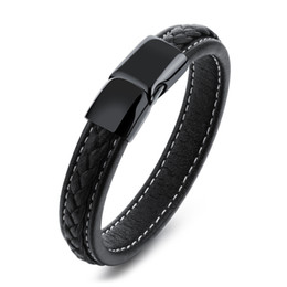 Wholesale Mens Black Leather Bracelets - Vintage Black Genuine Leather Wrist Bracelet Magnetic Stainless Steel Clasp Bracelet for Men Punk Rock Surfer Mens Friendship Jewelry