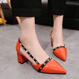 Wholesale Comfortable Dress Shoes Women - 2017 summer women pumps fashion rivets women sandals point toe comfortable square heels quality high heels shoes orange nude