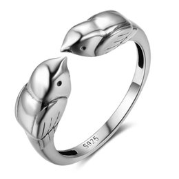 Wholesale Birds Rings - New 100% 925 Sterling Sliver Rings for Women Double Little Birds Vintage&Cute Style Women Wedding Jewelry Rngs
