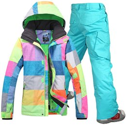 Wholesale Colorful Mens Suits - Gsou snow mens snow suit ski suit set professional thermal outdoor skiing clothing set colorful grid jacket and blue pants
