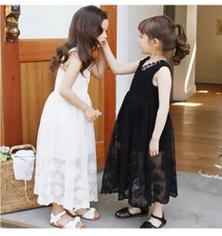 Wholesale Girls New Cotton Frocks - New Design Girl Lace Dress Party Occasion Little Girl Wear Embroidered Flower Dresses Sleeveless Cotton Girls Frock Dresses Children Clothes