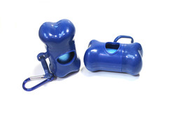Wholesale Pet Bag Bone - Blue Pet Bone Dispenser with 15 Bags and 1 Carabiner Lightweight Dog Waste Bags Case Holders Refill Roll Carrier Hook on Leash