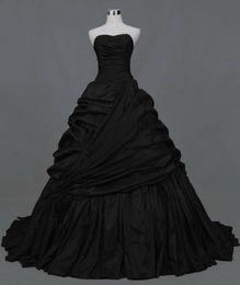 Wholesale Gothic Strapless Wedding Dresses - Simple Black Wedding Dress Plus Size 2016 Gothic Victorian Taffeta Ball Gown Wedding Dresses Sweetheart Court Train Modest Wedding Gowns