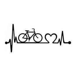Wholesale Cycling Stickers Decals - New Design Bicycle Heartbeat Lifeline Cycling Fashion Vinyl Stickers Car Stying Decals Jdm