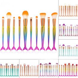 Wholesale Make Up Brushe - New and hot Mermaid Makeup Brushes Sets 3D Colorful Professional Make Up Brushe Foundation Blush Cosmetic Brush Set Kit Tool 1set=10pcs
