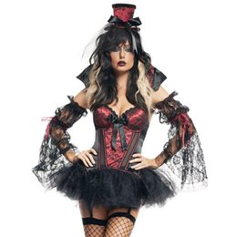 Wholesale Women Sexy Halloween Costumes Devil - High Quality Sexy Woman Halloween Costume Gothic Devil Vampires Cosplay Dress Fantasies Sexy Vampires Fancy Sleeveless Mini Dress W158816