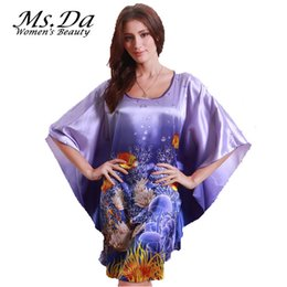 Wholesale Wholesale Rayon Shirts - Wholesale-Women Silk Nightgown Vintage Pattern Print Pajamas 2016 Summer Style Brand New Robes Kigurumi Plus Size Suit:L~3XXXL,4XL,5XL,6XL