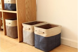 Wholesale Storage Baskets Japanese - Foldable Linen Cotton Storage Basket Japanese Style Dirty Clothes Storage Laundry Basket Sundries Organizer Toy Home Storage Box random colo