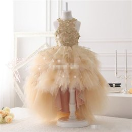 Wholesale Dresse Party - .Sweety Champagne Hi-lo 2017 Ball Gown Flower Girls Dresse Jewel 3D-Floral Appliques Tulle Tiered Skirts Party Communion Dresses