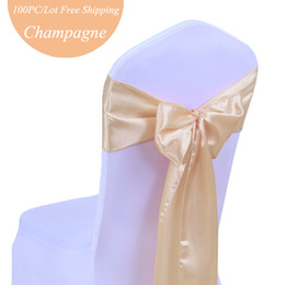 Wholesale Satin Chairs Sashes - Wedding chair bow 100PC Pack Cheap Satin Chair Cover Sashes Bow tie Satin Silk Fabric Ribbon Pew Chair Bows of Wedding Festival Church