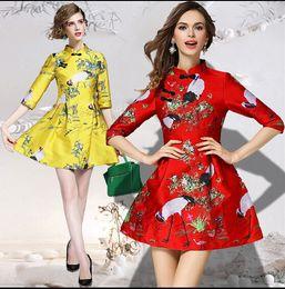 Wholesale Cheongsam Mini Skirt - Puff Sleeve waist dress skirt retro thick collar improved version cheongsam dress