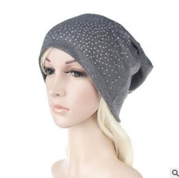 Wholesale Thin Cotton Winter Hat - Winter Caps for Ladies Women Autumn Winter Diamond Solid Color Casual Knitted Thin Cotton Hats For Teens Women Adult Caps Diamonds 0976