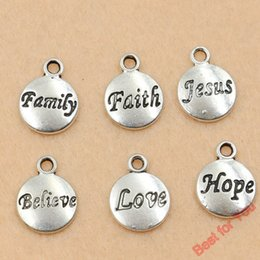 Wholesale 14k Jesus Pendant - 120pcs Tibetan Silver Believe Faith Jesus Hope Love Round Charm Pendant Jewelry Making Handmade 11.5x15.5mm jewelry making