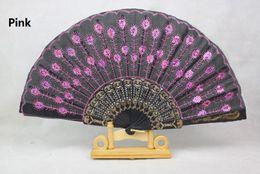 Wholesale Plastic Folding Fans - Plastic Embroidered Sequins Folding Flower Lace Fan Dance Hand Fans Party Wedding Decor Dancing Supplies Spanish Style